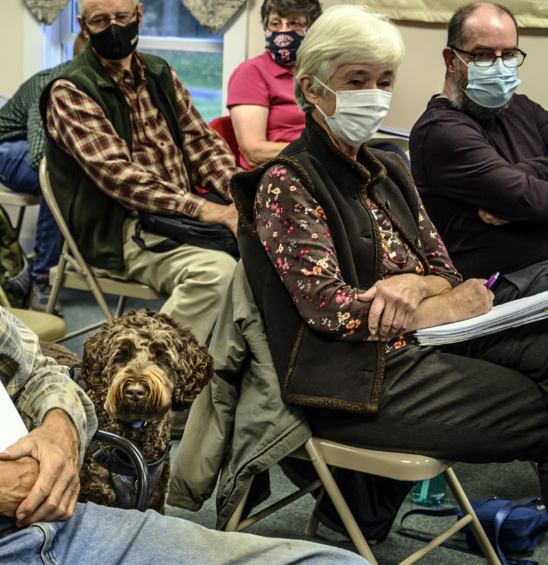 """""""Cello"""" joins members of the planning board during a board of selectmen's meeting in Jefferson on Oct. 4. The planning board was on hand to submit proposed changes to the land use and shoreland zoning ordinances. (Bisi Cameron Yee photo)"""
