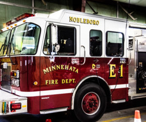 Engine 1 waits in the bay at the Nobleboro Fire Department. (Bisi Cameron Yee photo, LCN file)