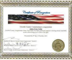 Lincoln County Commissioners will send a certificate like this to recipients of the Spirit of America Awards. (Courtesy photo)