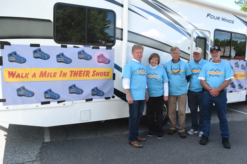 """From left: Sen. Bill Diamond, Jane Diamond, Rep. Jeff Hanley, Dennis Ela, and Ron Eby traveled from Old Town to Wiscasset in a donated RV as part of Diamond's """"Walk a Mile in their Shoes"""" campaign to raise awareness of fatal child abuse cases in Maine. (Nate Poole photo)"""
