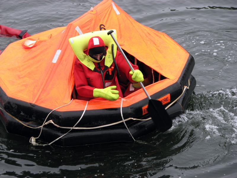 Nolan Gilbert maneuvering survival liferaft. (Courtesy photo)