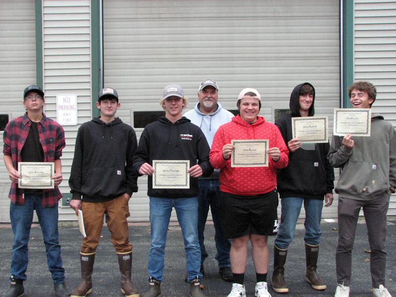 Certified Fishing Vessel Drill Conductors, from left: Caleb Soohey, Tyler McFarland, Spencer Gamage, John McMillan-Instructor, Matt Hanna, Nolan Gilbert, and Eben Lord. (Courtesy photo)